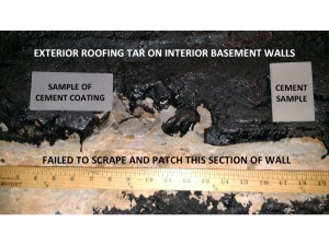 Comparison of Contracted Cement Coating and What We Got - Exterior Roofing Tar
